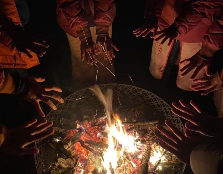 那須ハミルの森の焚火